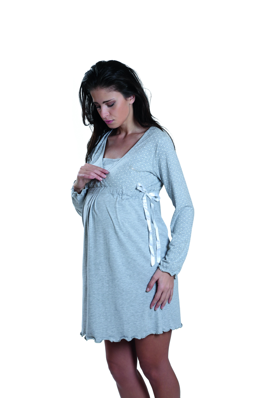 design di qualità a9a39 2082d PREMAMY Camicia da note per gravidanza e allattamernto ...